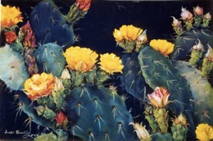 Golden Glory pastel of cactus with yllow blooms by Eunice Hundley