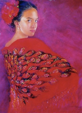 Gypsy Shawl Pastel Painting by Eunice Henning Hundley